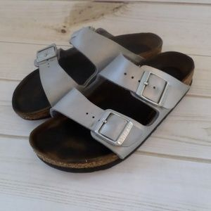Birkenstock Arizona Silver Slide Sandals